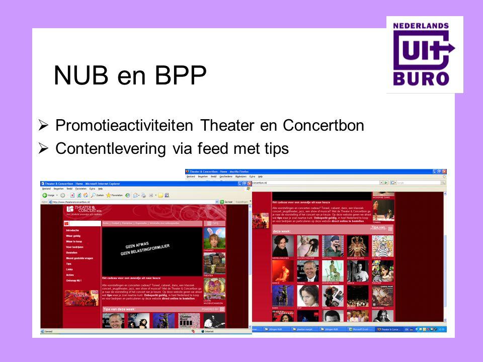 NUB en BPP  Promotieactiviteiten Theater en Concertbon  Contentlevering via feed met tips