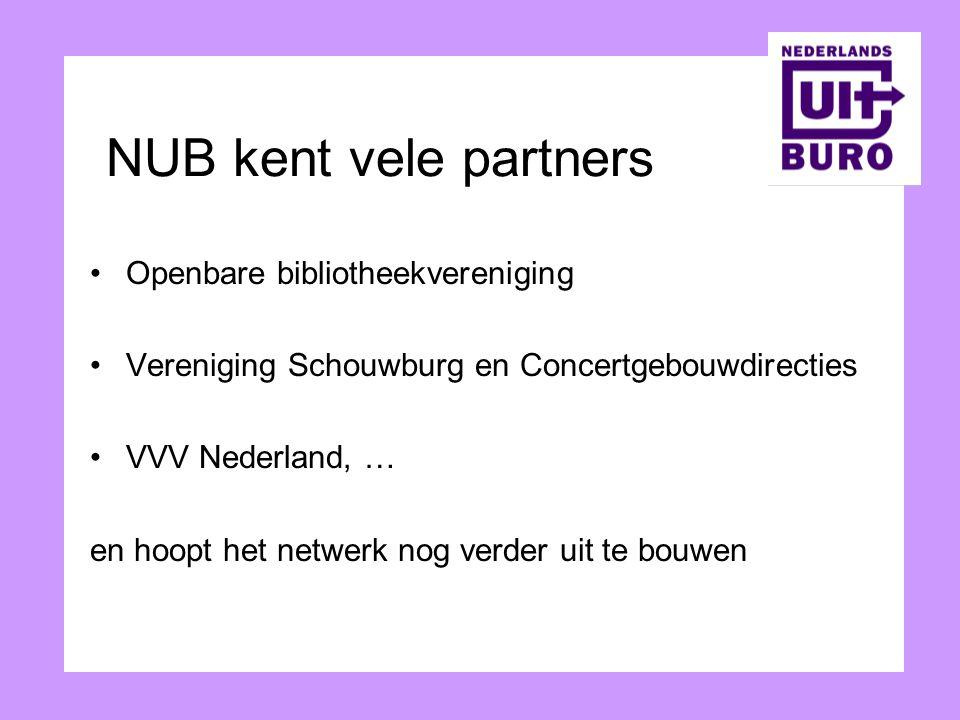 NUB kent vele partners Openbare bibliotheekvereniging Vereniging Schouwburg en Concertgebouwdirecties VVV Nederland, … en hoopt het netwerk nog verder