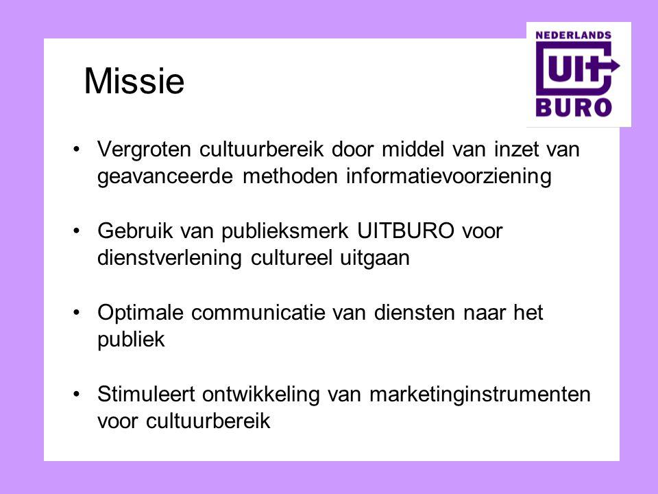 Missie Vergroten cultuurbereik door middel van inzet van geavanceerde methoden informatievoorziening Gebruik van publieksmerk UITBURO voor dienstverle