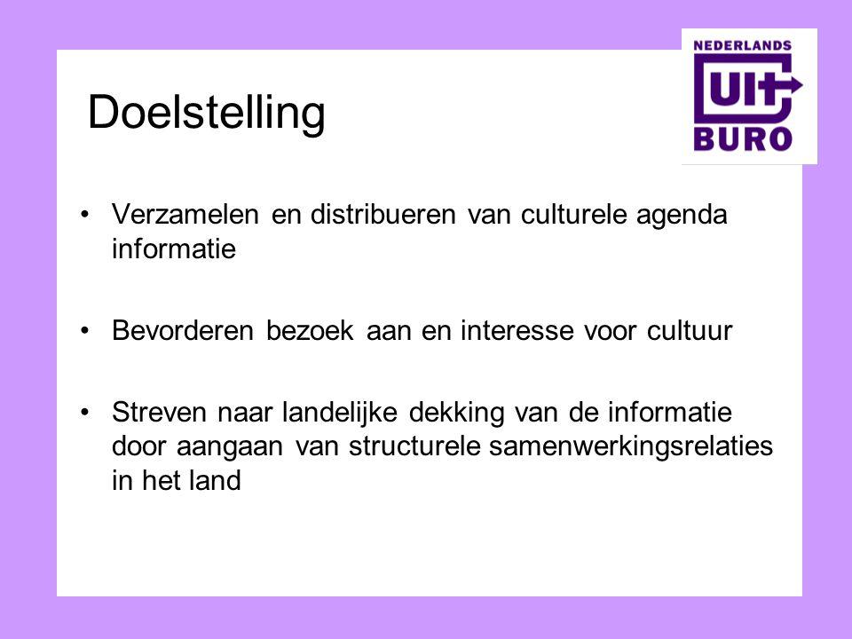 Doelstelling Verzamelen en distribueren van culturele agenda informatie Bevorderen bezoek aan en interesse voor cultuur Streven naar landelijke dekkin