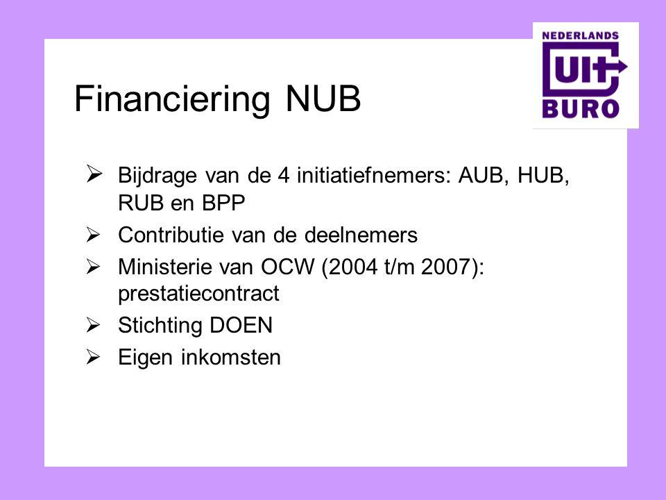 Financiering NUB  Bijdrage van de 4 initiatiefnemers: AUB, HUB, RUB en BPP  Contributie van de deelnemers  Ministerie van OCW (2004 t/m 2007): pres