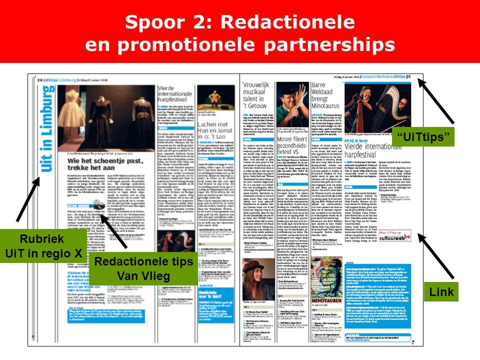 Spoor 2: Redactionele en promotionele partnerships Rubriek UiT in regio X Redactionele tips Van Vlieg UiTtips Link
