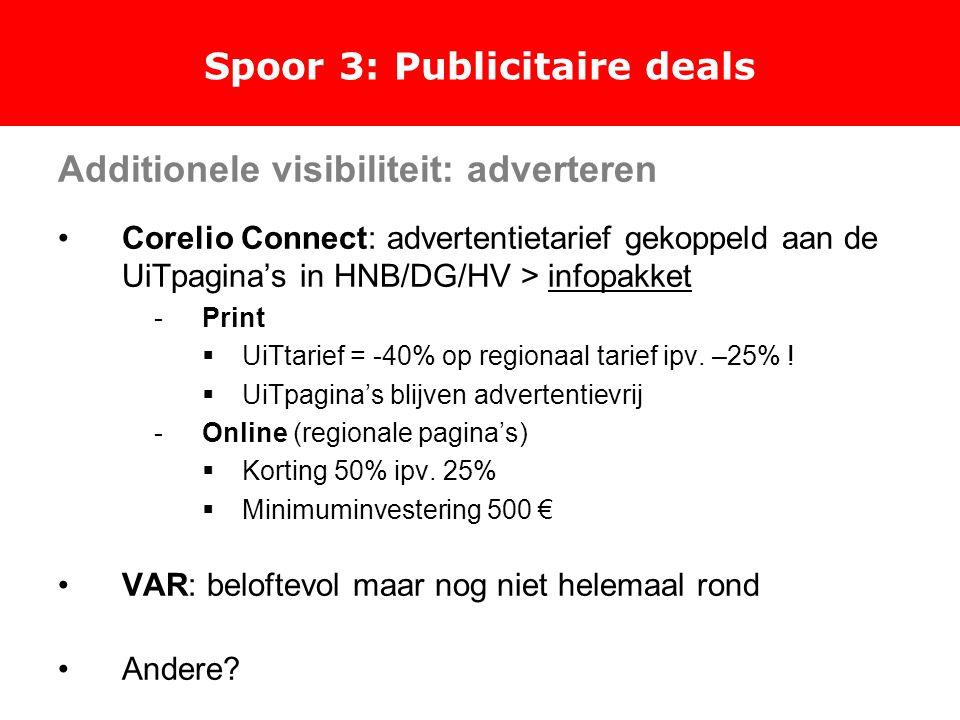 Spoor 3: Publicitaire deals Additionele visibiliteit: adverteren Corelio Connect: advertentietarief gekoppeld aan de UiTpagina's in HNB/DG/HV > infopakket -Print  UiTtarief = -40% op regionaal tarief ipv.