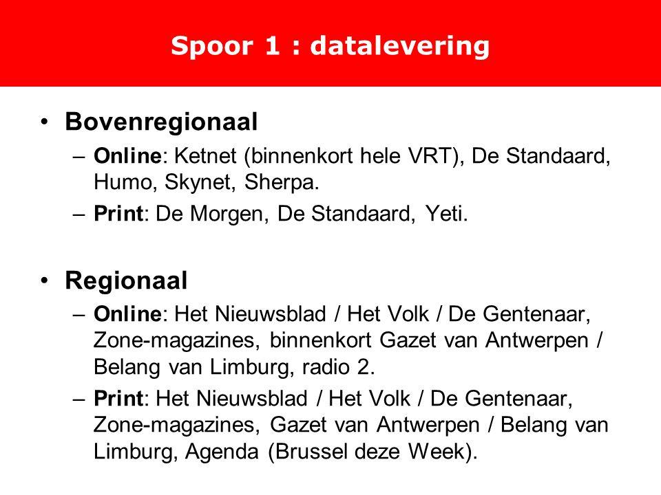 Spoor 1 : datalevering Bovenregionaal –Online: Ketnet (binnenkort hele VRT), De Standaard, Humo, Skynet, Sherpa.