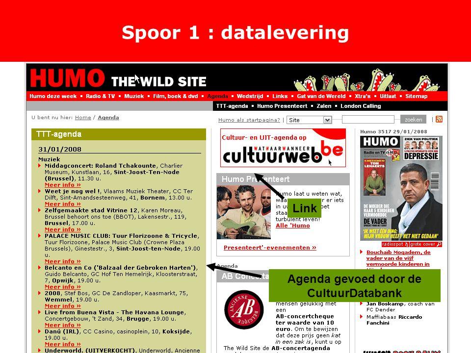 Spoor 1 : datalevering Link Agenda gevoed door de CultuurDatabank