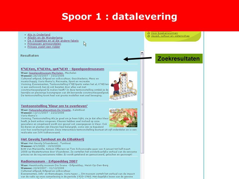 Spoor 1 : datalevering Zoekresultaten