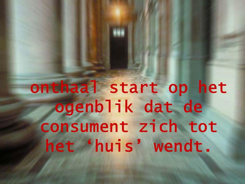 onthaal start op het ogenblik dat de consument zich tot het 'huis' wendt.