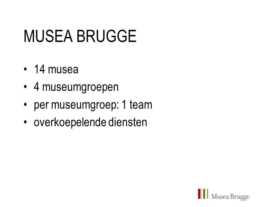 MUSEA BRUGGE 14 musea 4 museumgroepen per museumgroep: 1 team overkoepelende diensten