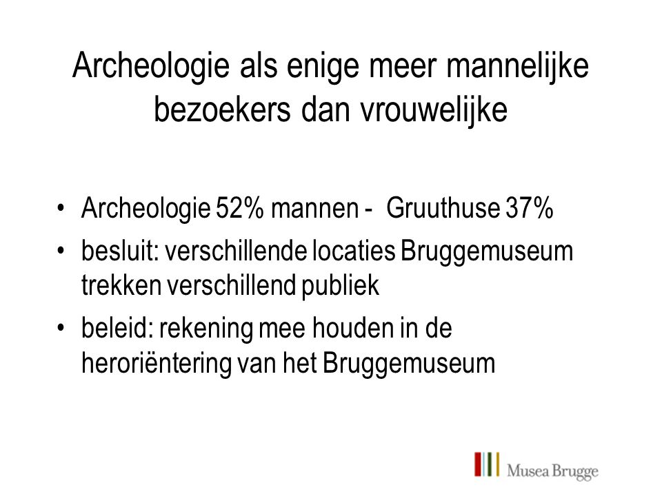 Archeologie als enige meer mannelijke bezoekers dan vrouwelijke Archeologie 52% mannen - Gruuthuse 37% besluit: verschillende locaties Bruggemuseum trekken verschillend publiek beleid: rekening mee houden in de heroriëntering van het Bruggemuseum