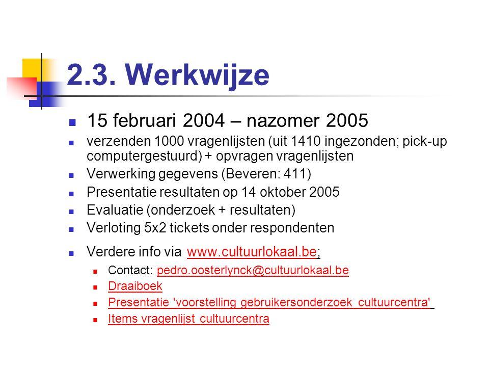 2.3. Werkwijze Tot 15 november 2004 Piloot: vergaderingen, bevraging onderzoekers cc, opstellen vragenlijsten Eigen centrumspecifieke vragen (max. 10)