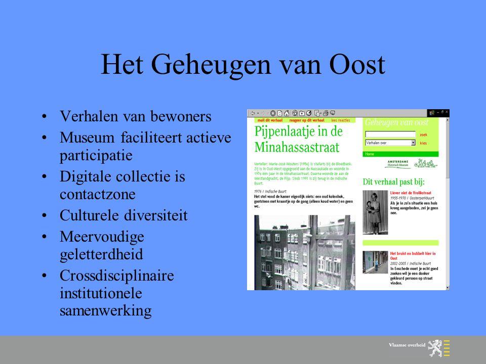 1) Visieontwikkeling Centrale plek Investering in wetenschappelijk onderzoek, praktijkontwikkeling en kennisdeling Positioneren van cultuur (praktijk en beleid) in beleidsvisies Vlaams niveau