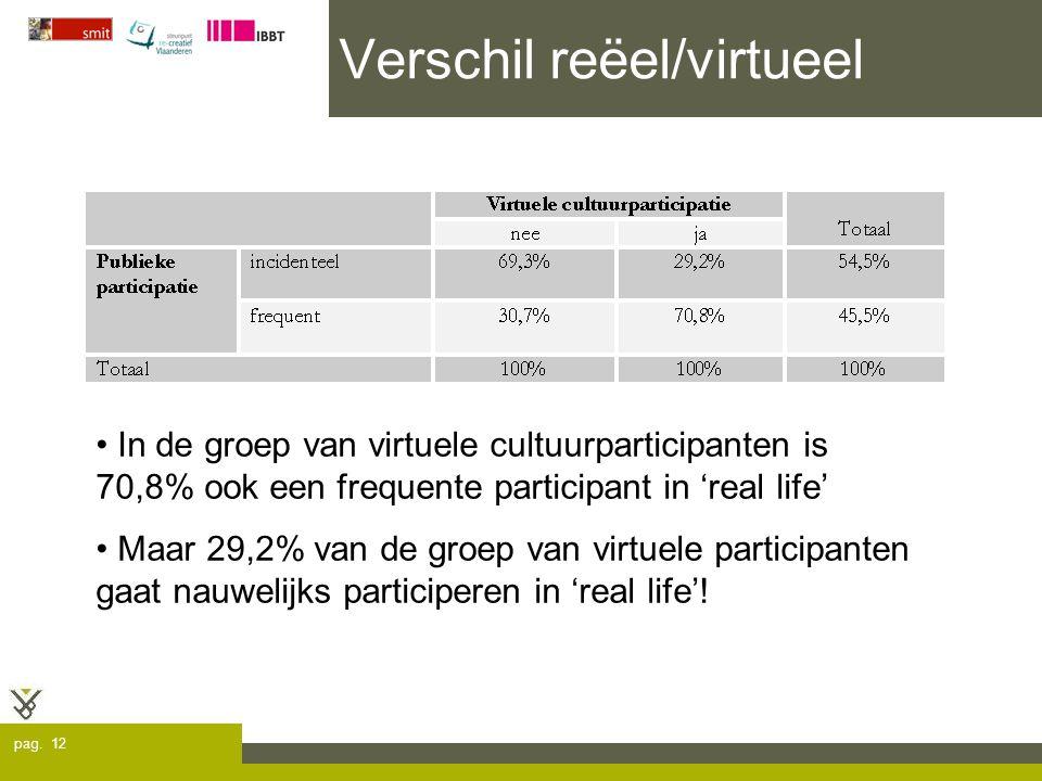 pag. 12 Verschil reëel/virtueel In de groep van virtuele cultuurparticipanten is 70,8% ook een frequente participant in 'real life' Maar 29,2% van de