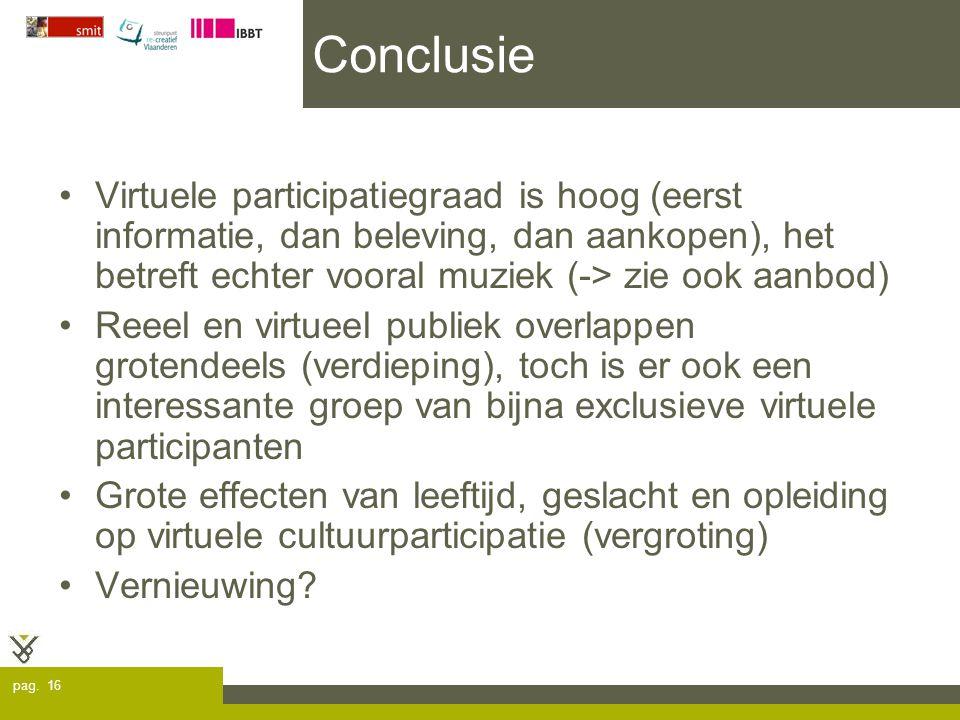 pag. 16 Conclusie Virtuele participatiegraad is hoog (eerst informatie, dan beleving, dan aankopen), het betreft echter vooral muziek (-> zie ook aanb