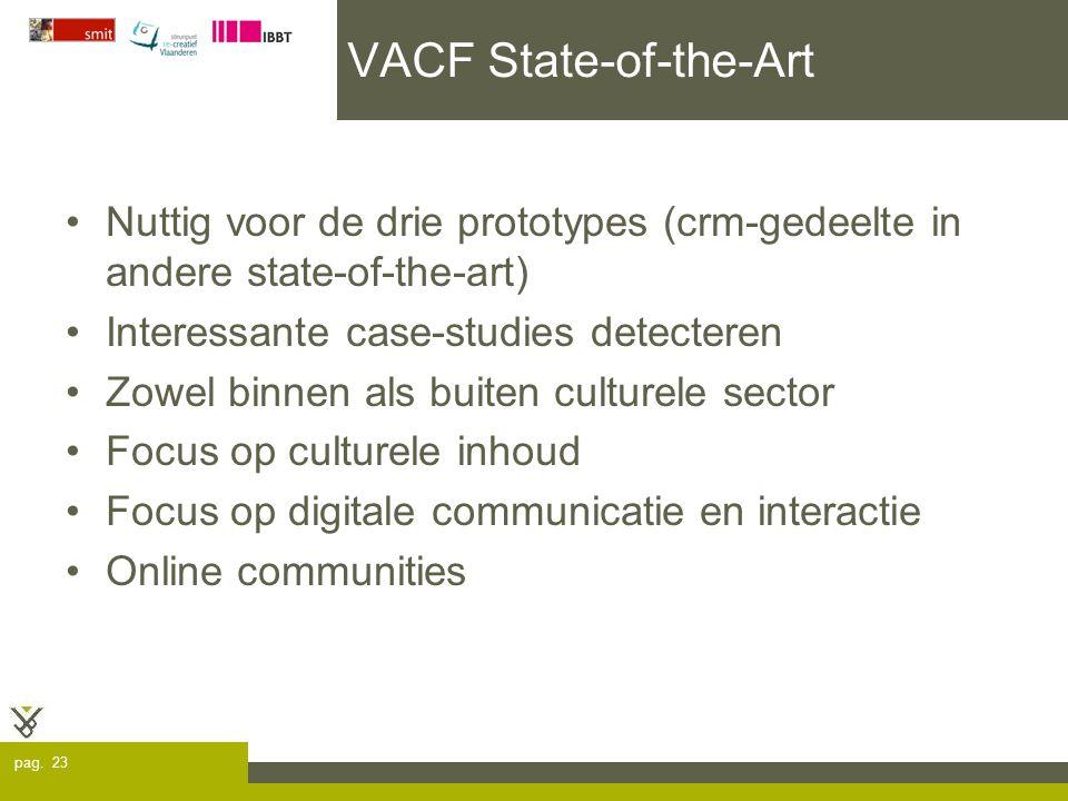 pag. 23 VACF State-of-the-Art Nuttig voor de drie prototypes (crm-gedeelte in andere state-of-the-art) Interessante case-studies detecteren Zowel binn