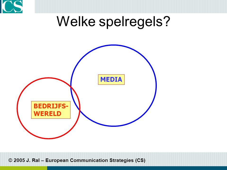 © 2005 J. Ral – European Communication Strategies (CS) Welke spelregels MEDIA BEDRIJFS- WERELD