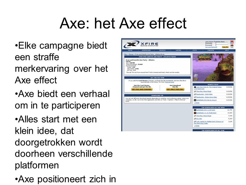 Axe: het Axe effect Elke campagne biedt een straffe merkervaring over het Axe effect Axe biedt een verhaal om in te participeren Alles start met een k
