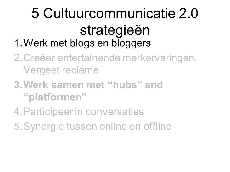 """5 Cultuurcommunicatie 2.0 strategieën 1.Werk met blogs en bloggers 2.Creëer entertainende merkervaringen. Vergeet reclame 3.Werk samen met """"hubs"""" and"""