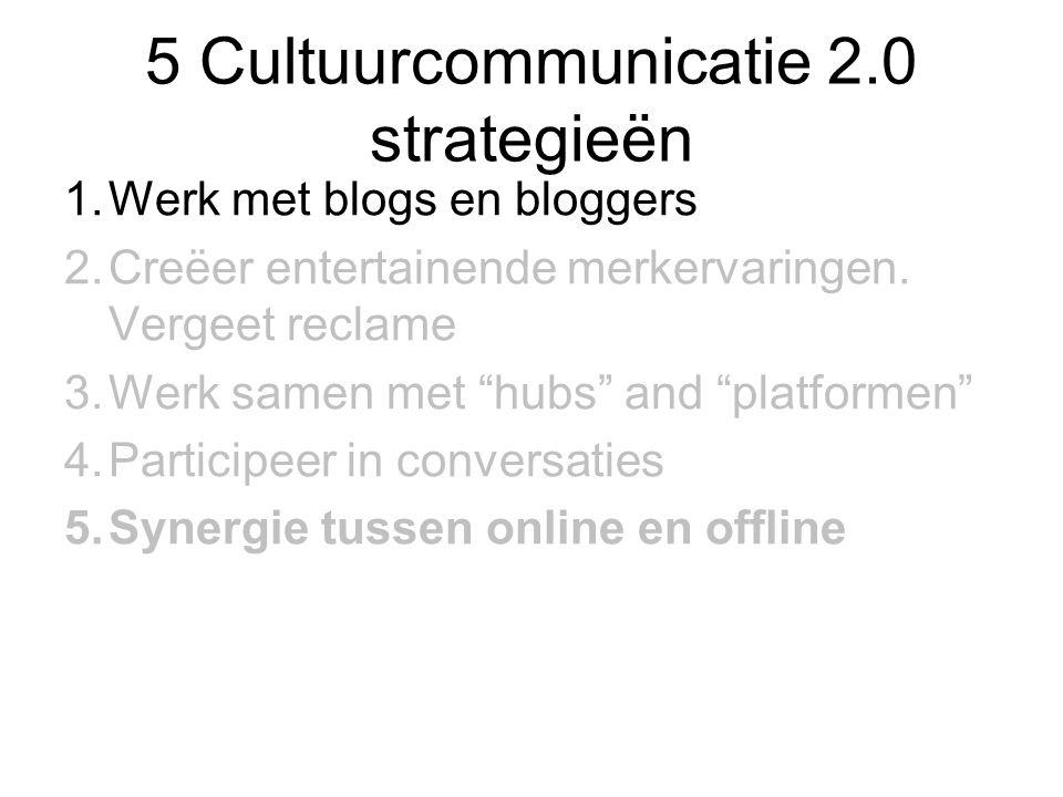 5 Cultuurcommunicatie 2.0 strategieën 1.Werk met blogs en bloggers 2.Creëer entertainende merkervaringen.