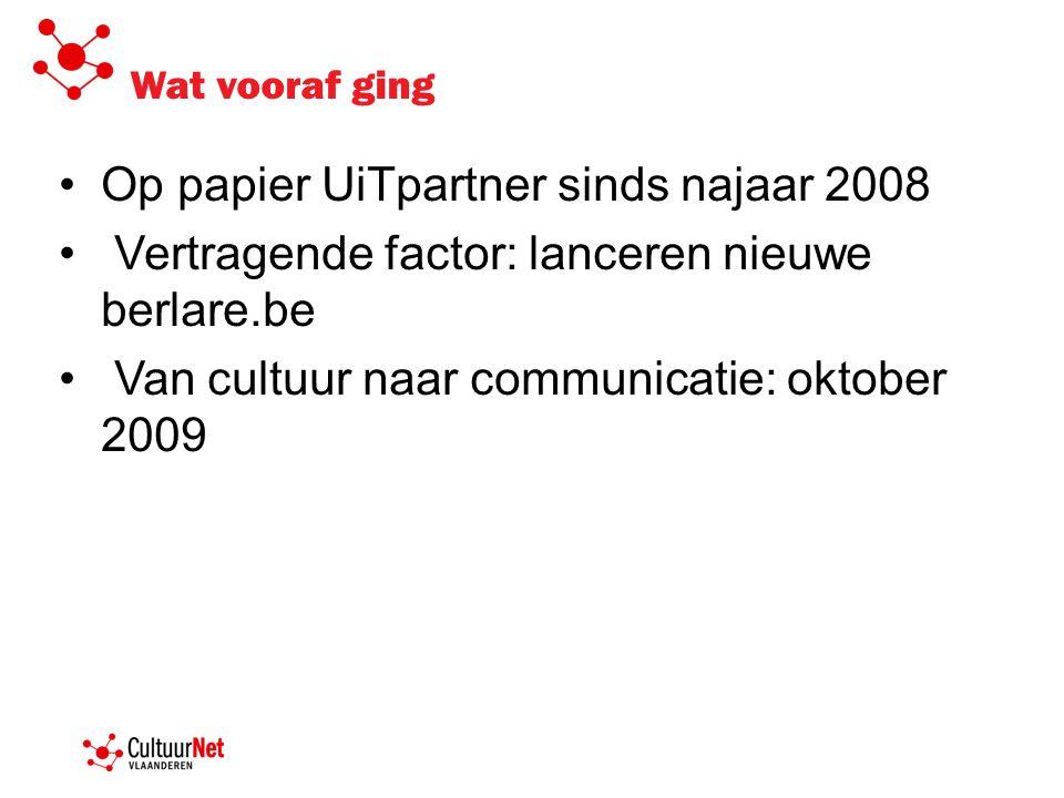 Wat vooraf ging Op papier UiTpartner sinds najaar 2008 Vertragende factor: lanceren nieuwe berlare.be Van cultuur naar communicatie: oktober 2009