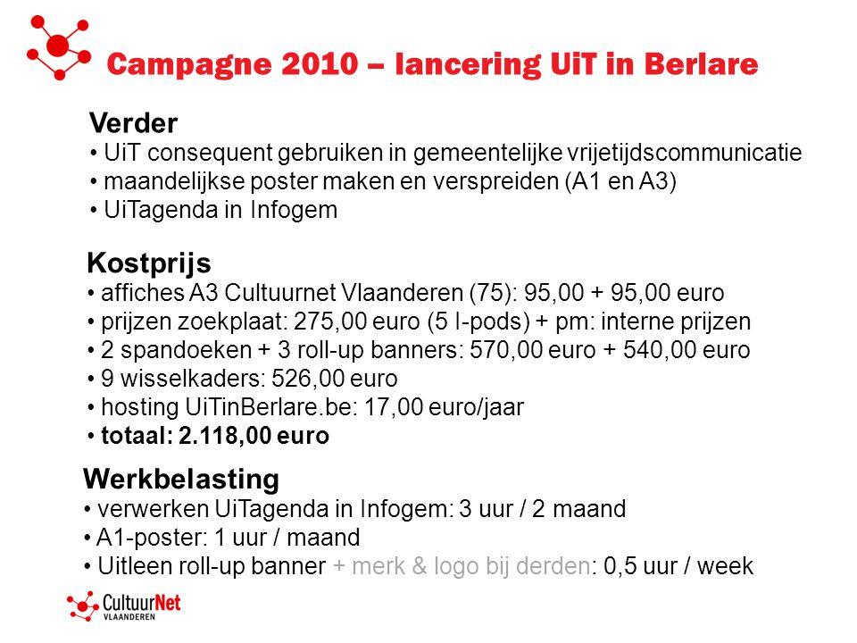 Verder UiT consequent gebruiken in gemeentelijke vrijetijdscommunicatie maandelijkse poster maken en verspreiden (A1 en A3) UiTagenda in Infogem Kostprijs affiches A3 Cultuurnet Vlaanderen (75): 95,00 + 95,00 euro prijzen zoekplaat: 275,00 euro (5 I-pods) + pm: interne prijzen 2 spandoeken + 3 roll-up banners: 570,00 euro + 540,00 euro 9 wisselkaders: 526,00 euro hosting UiTinBerlare.be: 17,00 euro/jaar totaal: 2.118,00 euro Werkbelasting verwerken UiTagenda in Infogem: 3 uur / 2 maand A1-poster: 1 uur / maand Uitleen roll-up banner + merk & logo bij derden: 0,5 uur / week Campagne 2010 – lancering UiT in Berlare