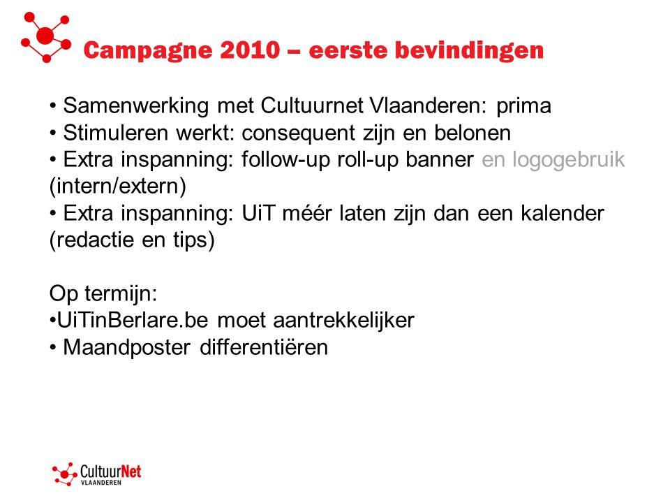 Samenwerking met Cultuurnet Vlaanderen: prima Stimuleren werkt: consequent zijn en belonen Extra inspanning: follow-up roll-up banner en logogebruik (intern/extern) Extra inspanning: UiT méér laten zijn dan een kalender (redactie en tips) Op termijn: UiTinBerlare.be moet aantrekkelijker Maandposter differentiëren Campagne 2010 – eerste bevindingen