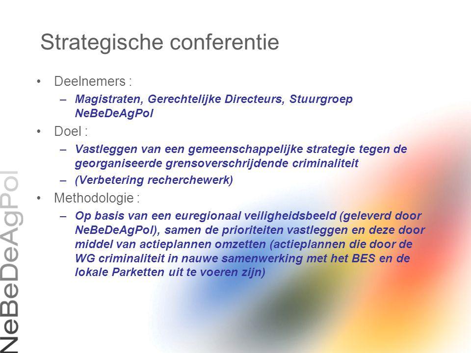Strategische conferentie Deelnemers : –Magistraten, Gerechtelijke Directeurs, Stuurgroep NeBeDeAgPol Doel : –Vastleggen van een gemeenschappelijke str