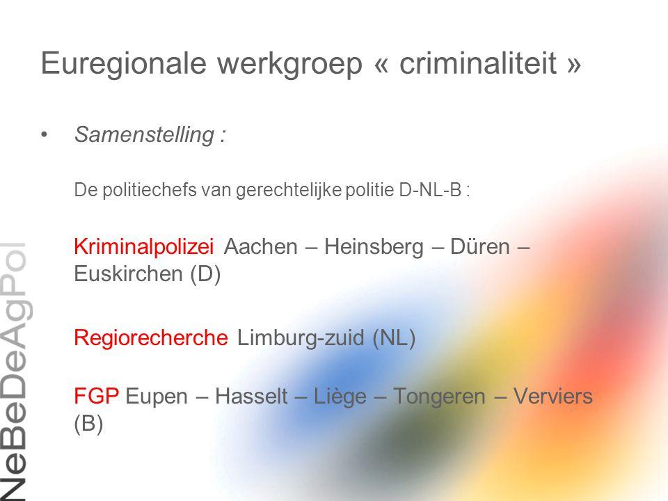 Euregionale werkgroep « criminaliteit » Samenstelling : De politiechefs van gerechtelijke politie D-NL-B : Kriminalpolizei Aachen – Heinsberg – Düren