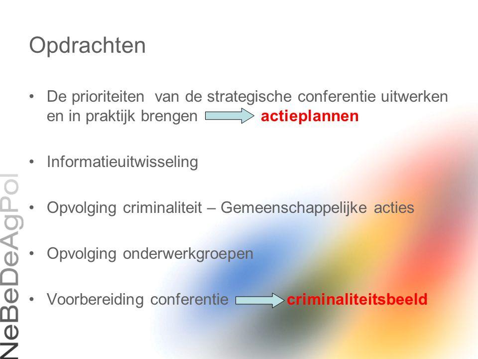 Opdrachten De prioriteiten van de strategische conferentie uitwerken en in praktijk brengen actieplannen Informatieuitwisseling Opvolging criminalitei