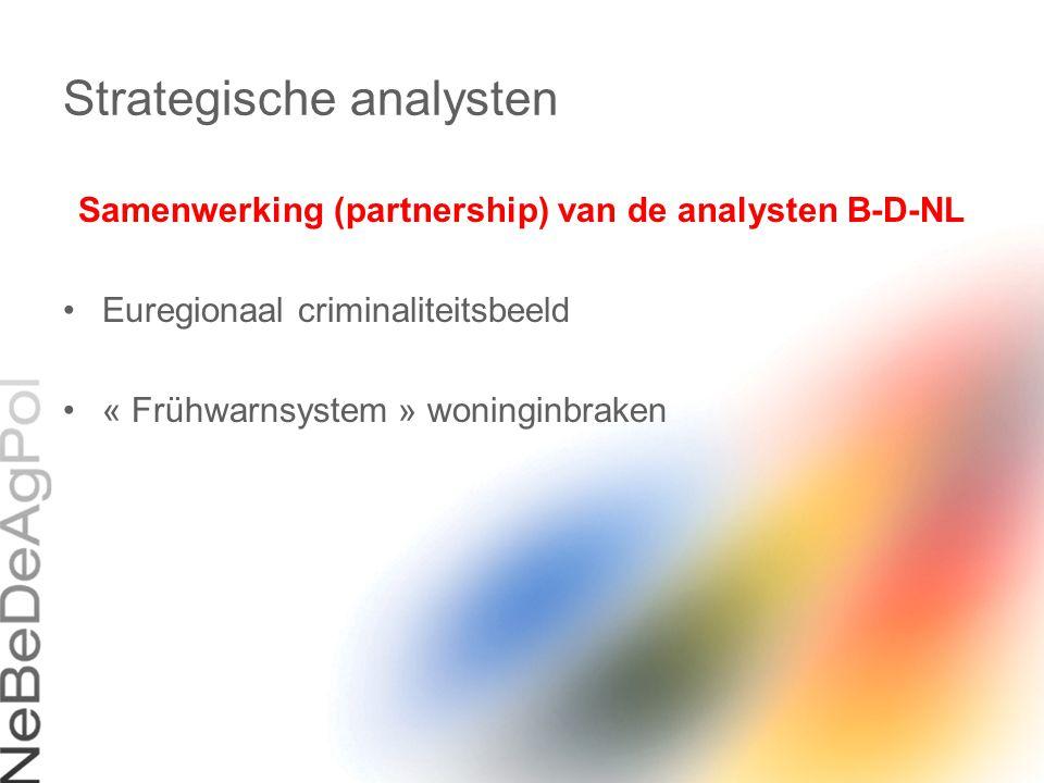 Strategische analysten Samenwerking (partnership) van de analysten B-D-NL Euregionaal criminaliteitsbeeld « Frühwarnsystem » woninginbraken
