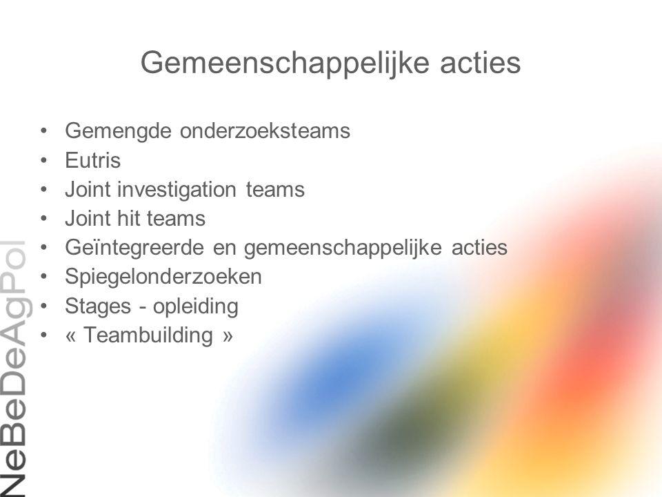 Gemeenschappelijke acties Gemengde onderzoeksteams Eutris Joint investigation teams Joint hit teams Geïntegreerde en gemeenschappelijke acties Spiegel