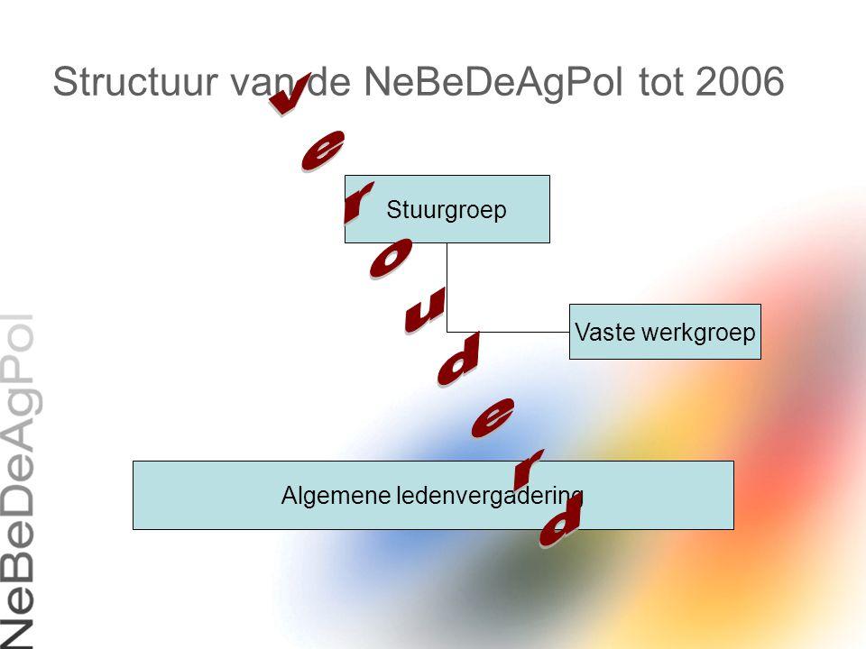 Actuele structuur van de NeBeDeAgPol Stuurgroep EPICC Srt WG Criminaliteit WG Interventie WG Verkeer WG PR WG Opleiding Algemene ledenvergadering (70 politieverantwoordelijken uit de Euregio)