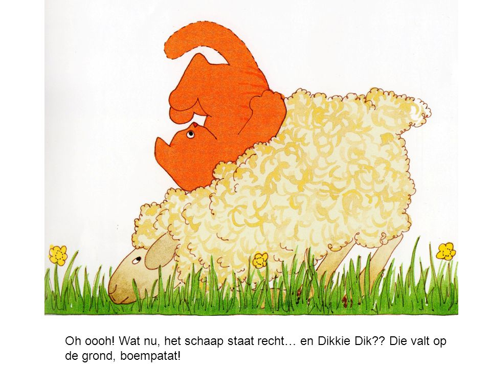 Dikkie Dik kijkt naar het schaap: Dag schaap zegt Dikkie Dik.