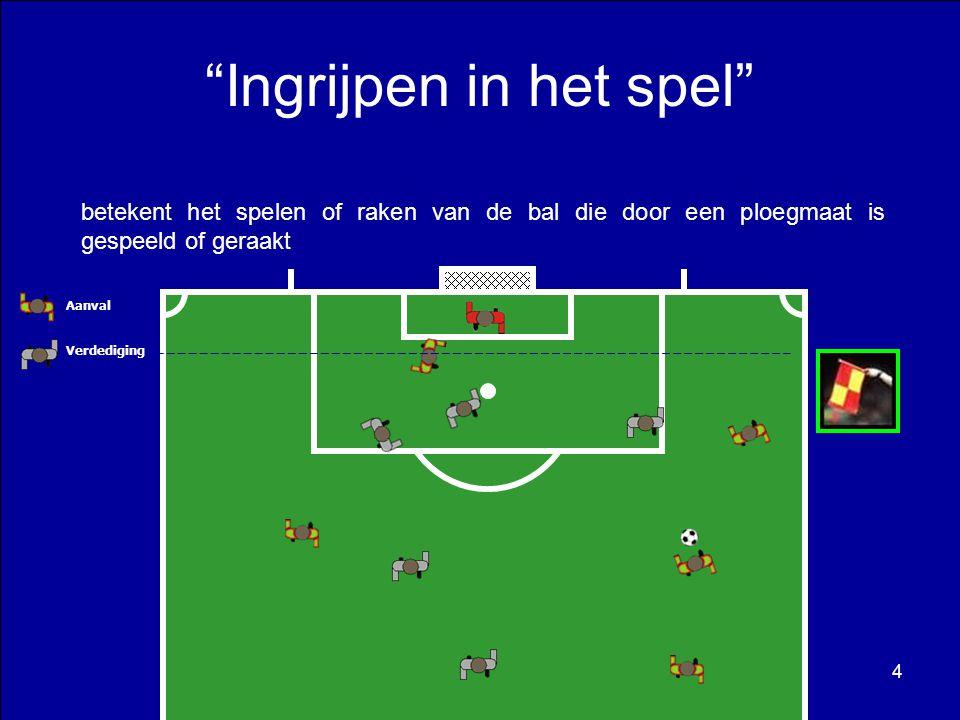Aanvaller nr.6 trapt de bal naar doel maar deze ketst af op een doelpaal en wijkt af in de richting van ploegmaat nr.10.