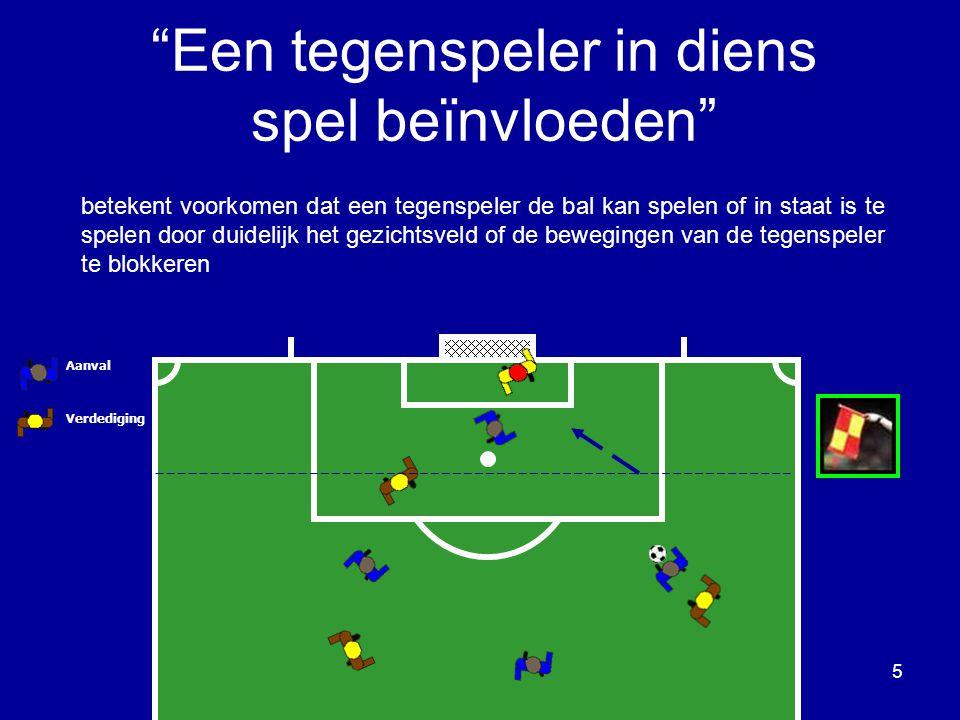 betekent voorkomen dat een tegenspeler de bal kan spelen of in staat is te spelen door duidelijk het gezichtsveld of de bewegingen van de tegenspeler