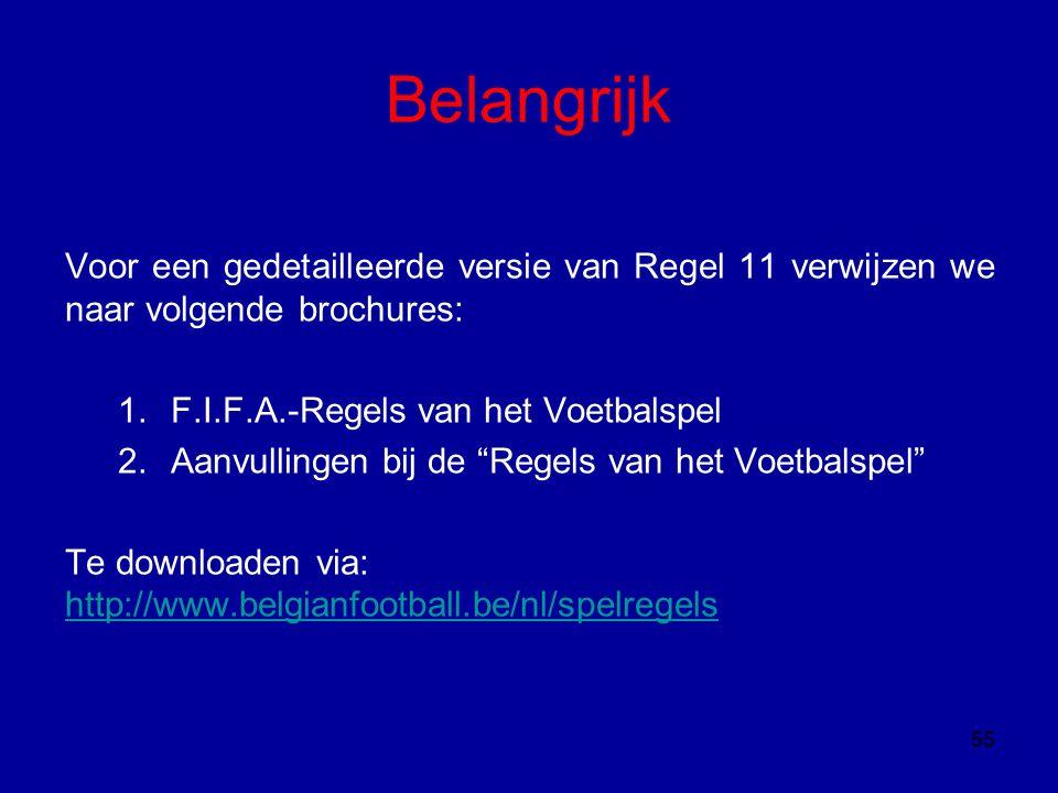 Belangrijk Voor een gedetailleerde versie van Regel 11 verwijzen we naar volgende brochures: 1.F.I.F.A.-Regels van het Voetbalspel 2.Aanvullingen bij