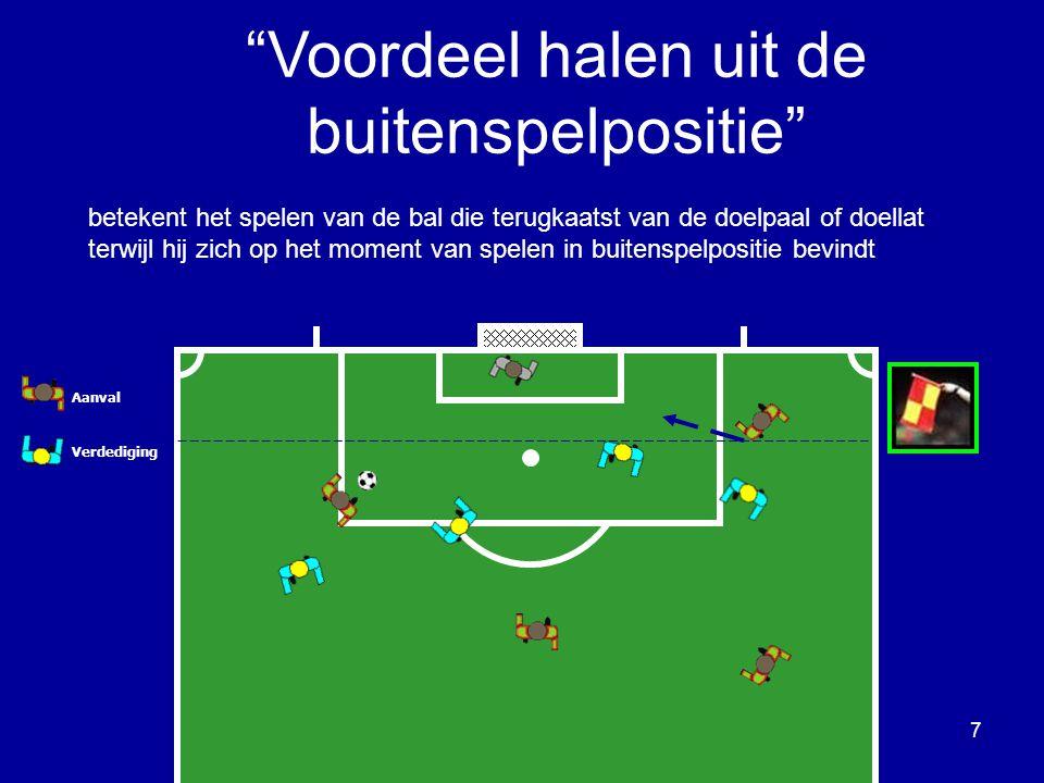 Aanval Verdediging betekent het spelen van de bal die terugkaatst van een tegenspeler terwijl hij zich op het moment van spelen in buitenspelpositie bevindt 8 Voordeel trekken uit de buitenspelpositie