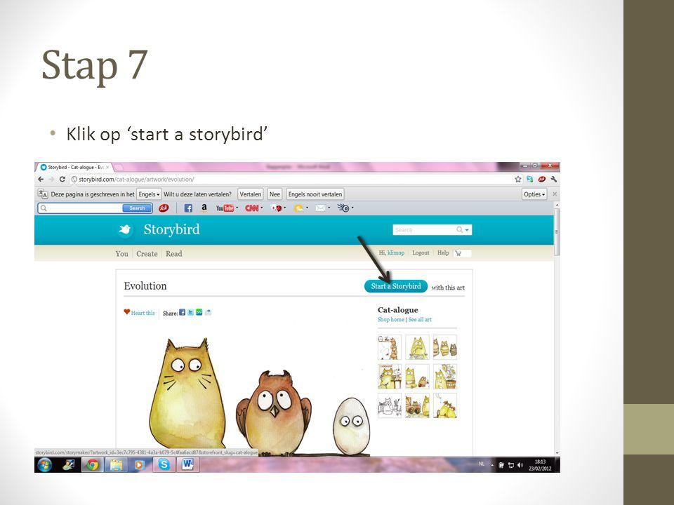 Stap 7 Klik op 'start a storybird'
