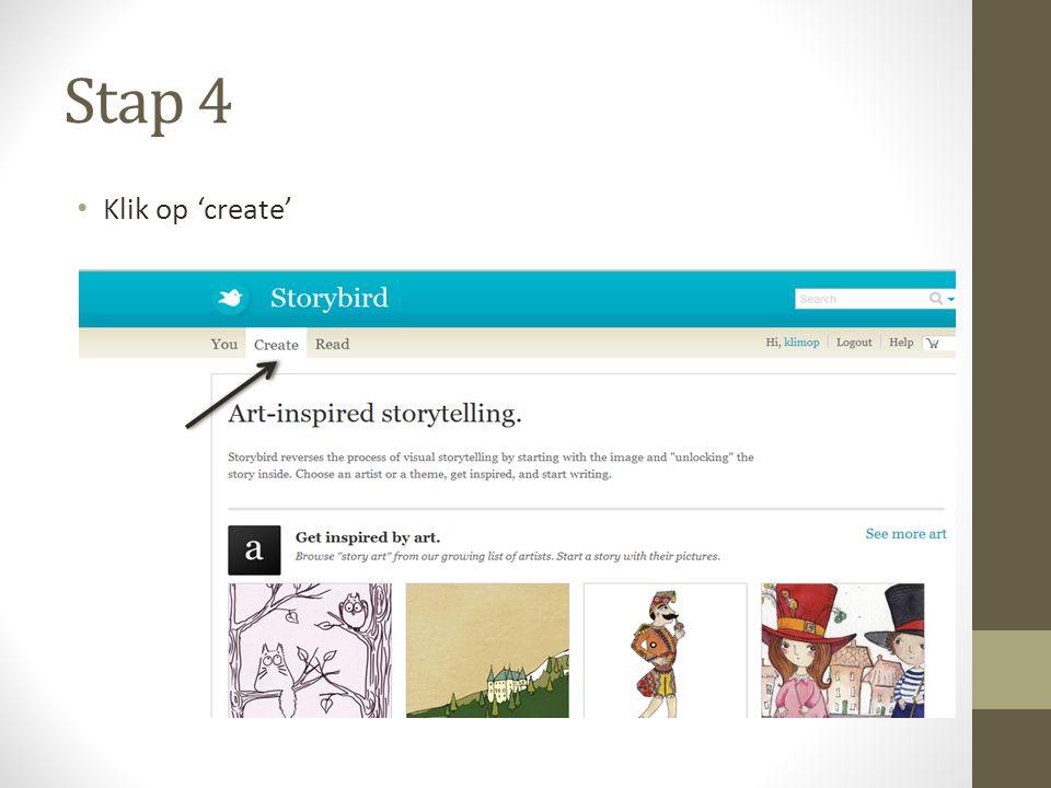 Stap 4 Klik op 'create'