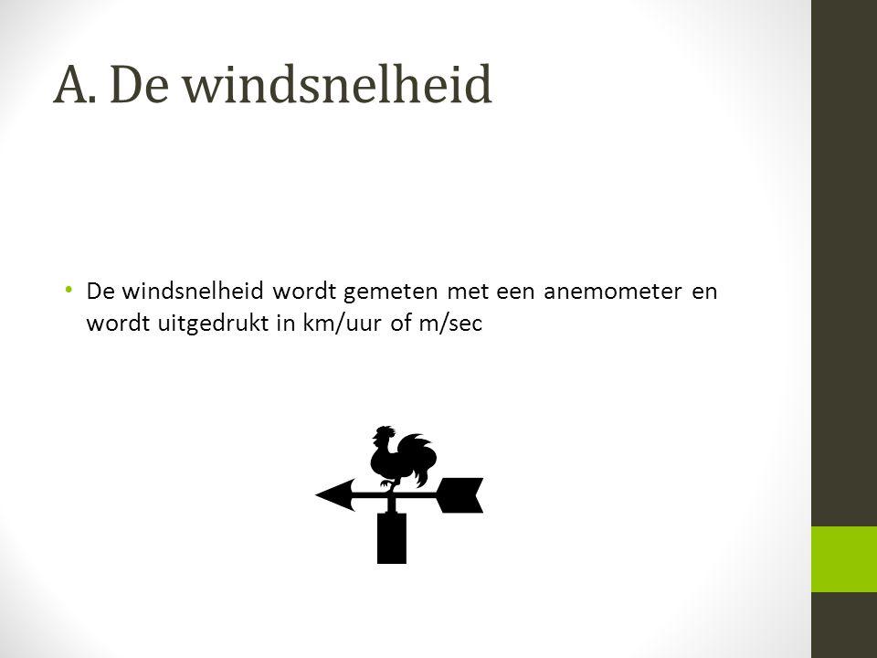 A. De windsnelheid De windsnelheid wordt gemeten met een anemometer en wordt uitgedrukt in km/uur of m/sec