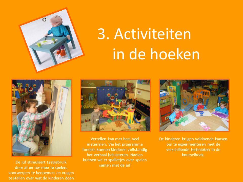 3. Activiteiten in de hoeken De juf stimuleert taalgebruik door af en toe mee te spelen, voorwerpen te benoemen en vragen te stellen over wat de kinde