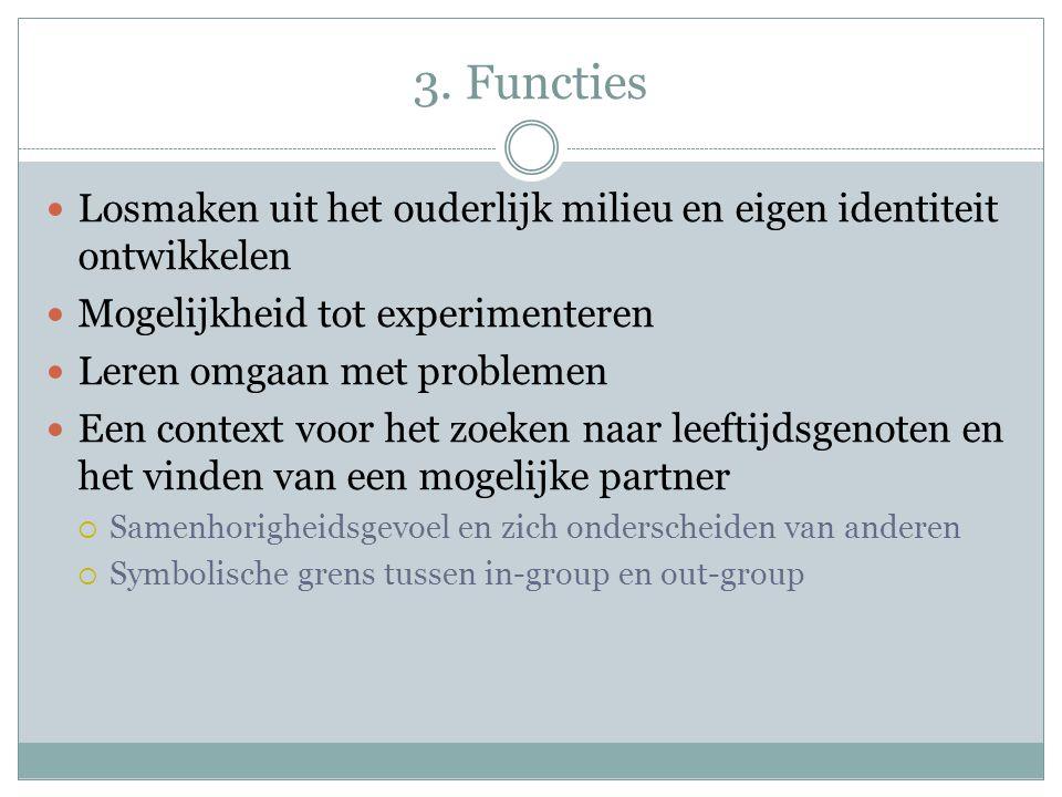 3. Functies Losmaken uit het ouderlijk milieu en eigen identiteit ontwikkelen Mogelijkheid tot experimenteren Leren omgaan met problemen Een context v