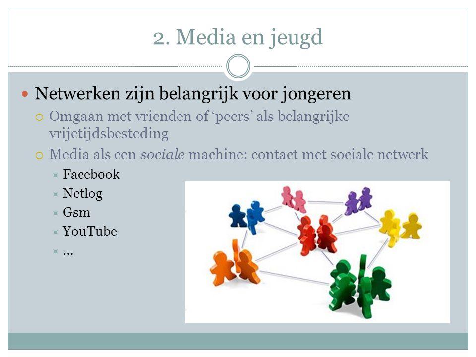 2. Media en jeugd Netwerken zijn belangrijk voor jongeren  Omgaan met vrienden of 'peers' als belangrijke vrijetijdsbesteding  Media als een sociale