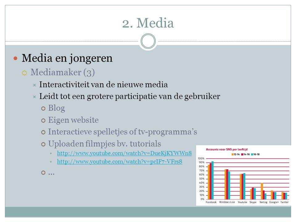 2. Media Media en jongeren  Mediamaker (3)  Interactiviteit van de nieuwe media  Leidt tot een grotere participatie van de gebruiker Blog Eigen web