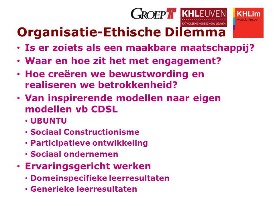 Organisatie-Ethische Dilemma Is er zoiets als een maakbare maatschappij? Waar en hoe zit het met engagement? Hoe creëren we bewustwording en realisere