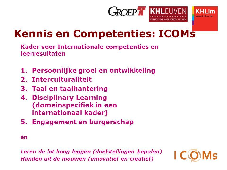 Kennis en Competenties: ICOMs Kader voor Internationale competenties en leerresultaten 1.Persoonlijke groei en ontwikkeling 2.Interculturaliteit 3.Taa