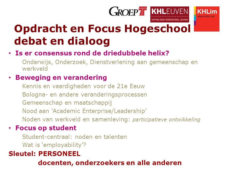 Opdracht en Focus Hogeschool debat en dialoog Is er consensus rond de driedubbele helix? Onderwijs, Onderzoek, Dienstverlening aan gemeenschap en werk