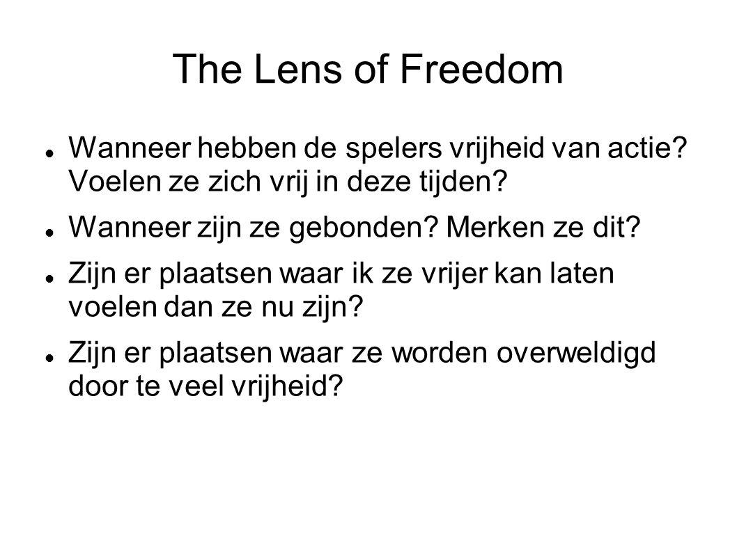 The Lens of Freedom Wanneer hebben de spelers vrijheid van actie.