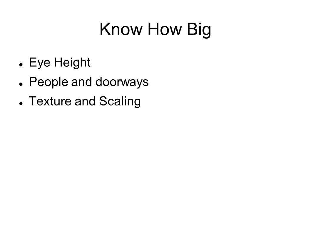 Know How Big Eye Height People and doorways Texture and Scaling