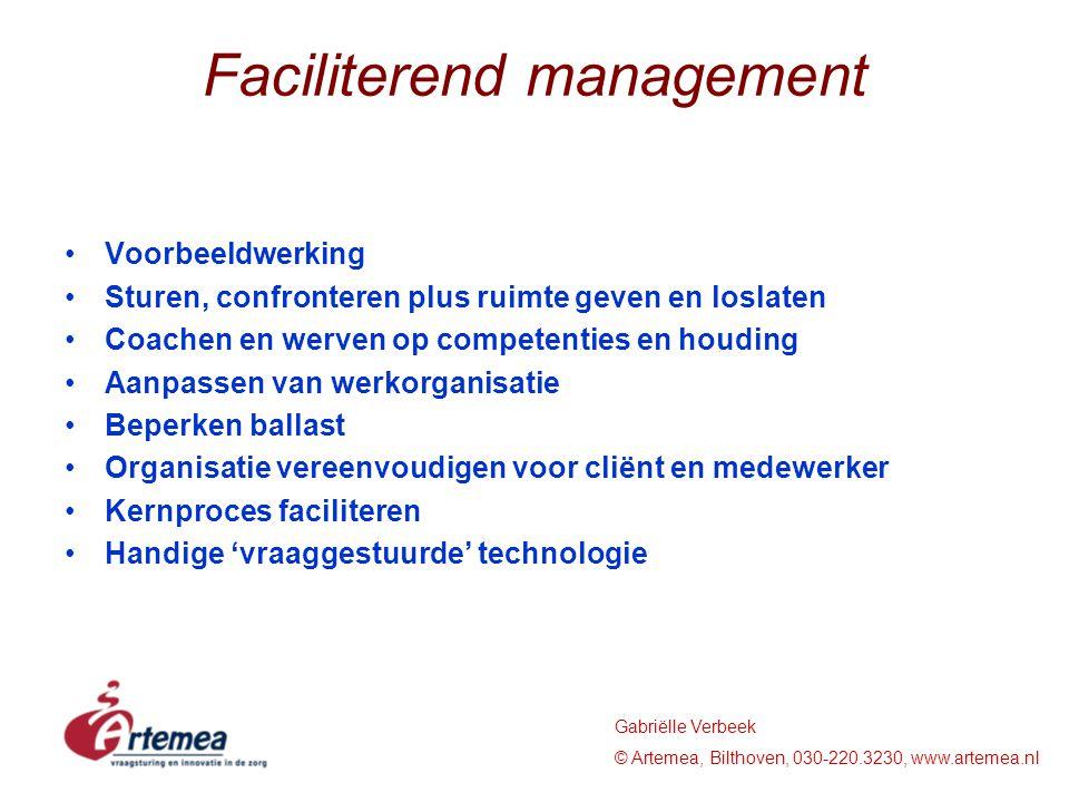 Gabriëlle Verbeek © Artemea, Bilthoven, 030-220.3230, www.artemea.nl Faciliterend management Voorbeeldwerking Sturen, confronteren plus ruimte geven e