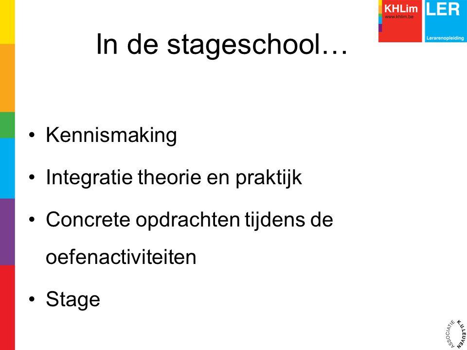 In de stageschool… Kennismaking Integratie theorie en praktijk Concrete opdrachten tijdens de oefenactiviteiten Stage